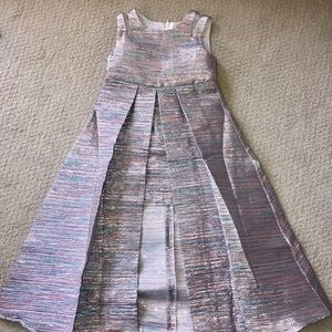 Rare Editions Dresses - Double-Strap Metallic Jacquard Walkthrough Dress